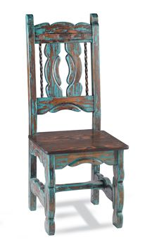 Rugged pine and wormwood, finished in a weathered, turquoise wash with rusted clavos details.