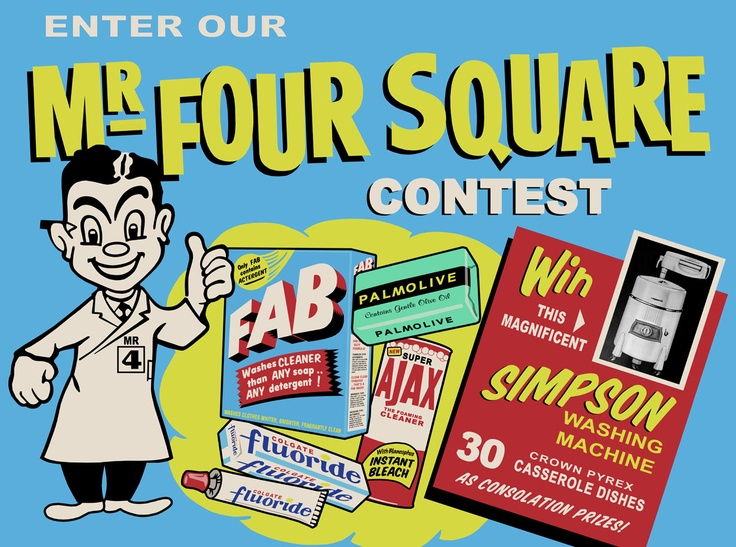 Mr. Four Square Cardboard Advertising Sign RECREATION copy
