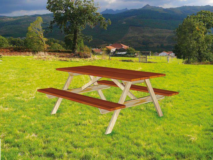 Werktekening / bouwtekening voor basic picnictafel 'Nevada'. Kan worden gemaakt van tuinhout of steigerplanken, alle met dezelfde diktemaat, meubelontwerp met handleiding om zelf te maken