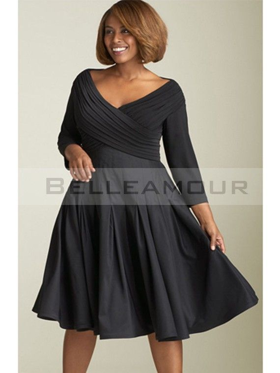 robe de soire grande taille satin col v manches courte noir - Robe Habille Pour Mariage Grande Taille