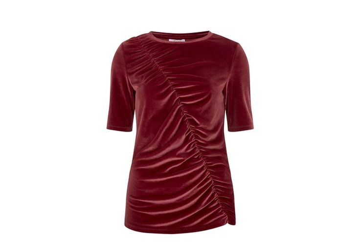 Go softly this season with the help of this velvet tee. A classic shape, it has been updated thanks to asymmetric ruching to the front which defines the waist while also covering a multitude of sins. <br/><br/> Designed to skim the body.