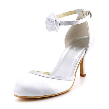 Women's Shoes Round Toe Stiletto Heel Satin Pumps  with Buckle Shoes More Colors available – USD $ 49.99