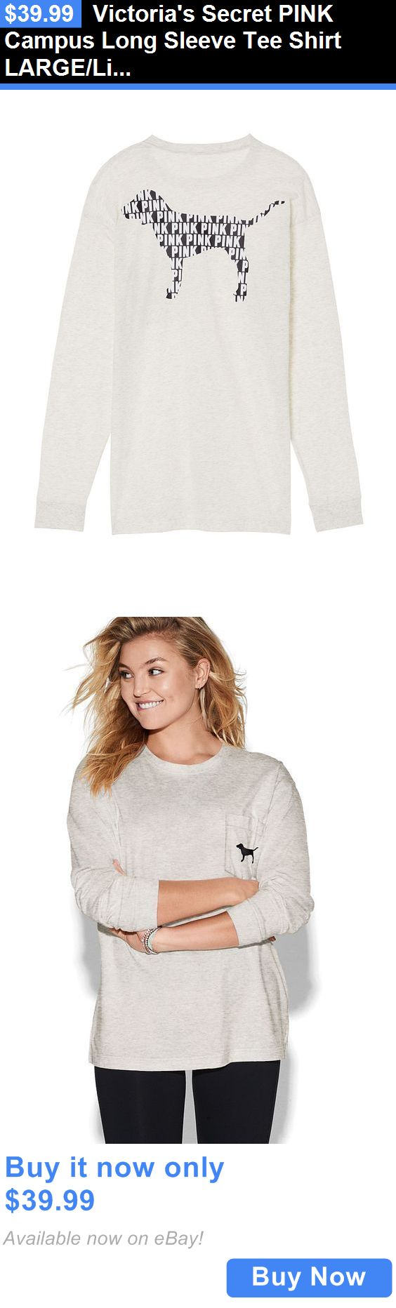 Women T Shirts: Victorias Secret Pink Campus Long Sleeve Tee Shirt Large/Light Grey Pink Dog BUY IT NOW ONLY: $39.99