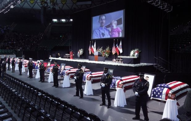 Memorial for fallen firefighters from West industrial explosion, April 25, 2013, Ferrell Center, Baylor University, Waco. (Michael Ainsworth/Dallas Morning News)