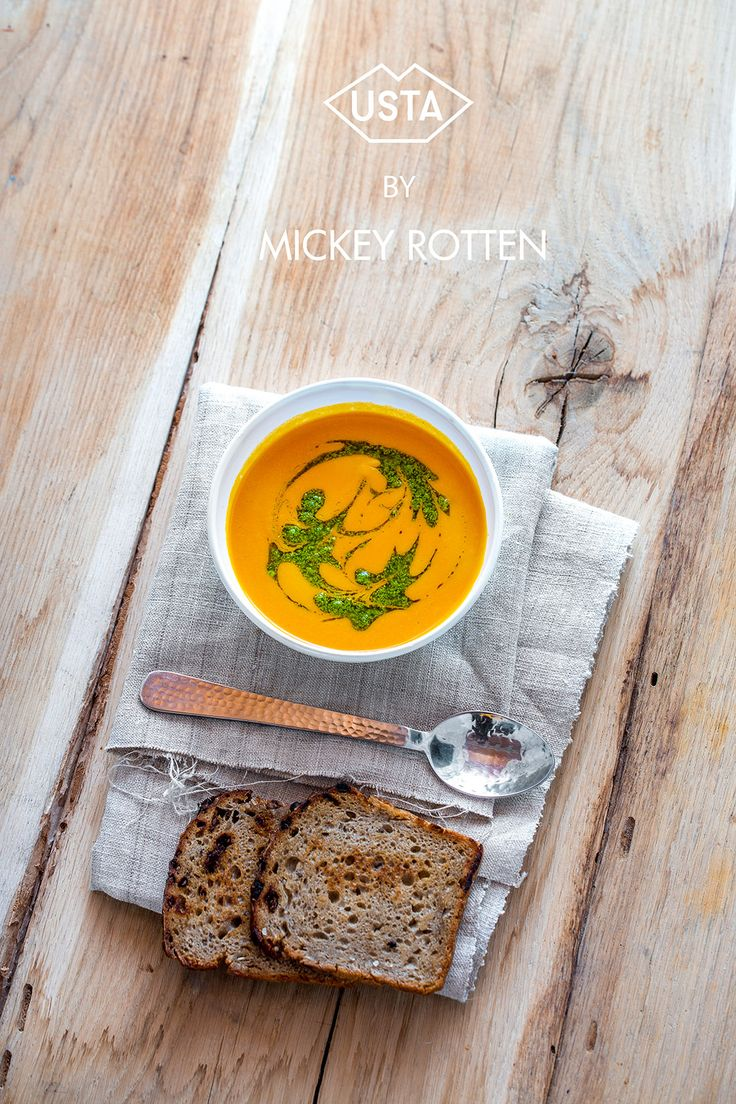 Carrot cream soup with mint puree - Monday's vegan recipe series by Mickey Rotten for Usta
