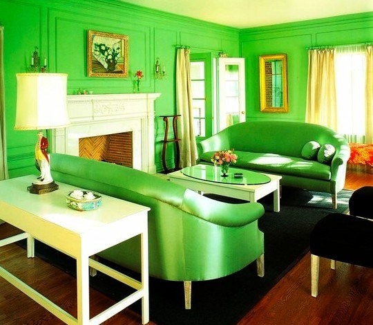 This Room Is Monochromatic Because The Color In Green Has Bright Couches And Walls With Yellow Curtains Table