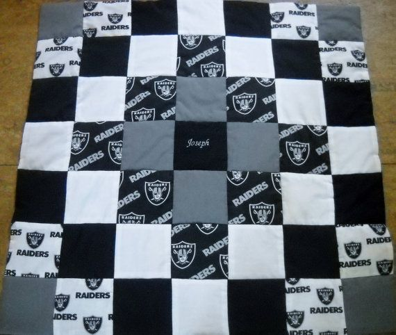 Handmade Oakland Raiders Baby Quilt by OzarkMountainQuilts on Etsy, $30.00