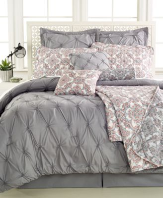 CLOSEOUT! Jasmine Grey 10-Pc. Queen Comforter Set | macys.com