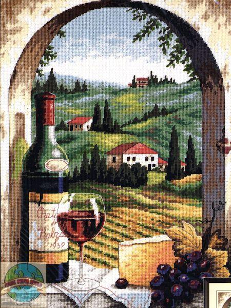 Needlepoint Kit Tuscan View Italy Vineyard Wine Cheese