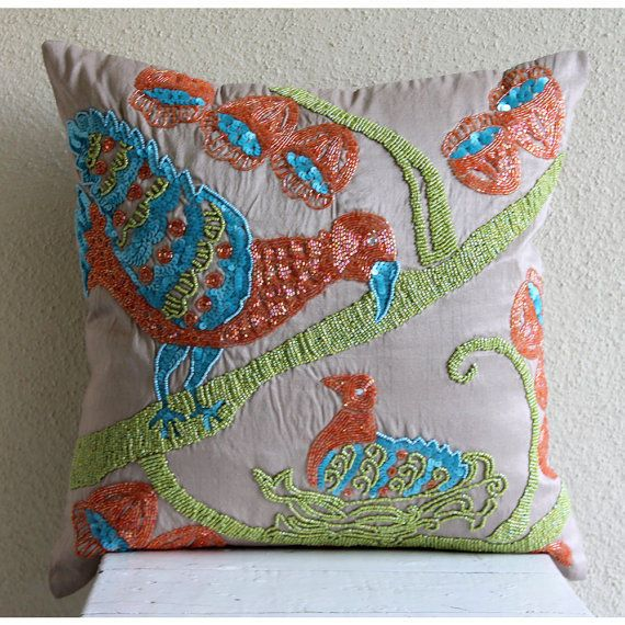 Beige Color Pigeon Bird Pillows Cover, Art Silk 18X18 Pillow Case - Summer Birds