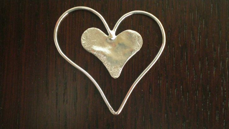 Handmade Silver Hearshaped Pendant / Bookmark by IoJewellery on Etsy