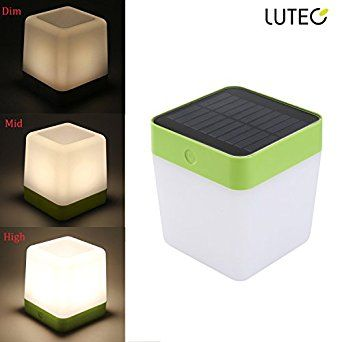 LUTEC Waterproof lamp Touch Sensitive Control Solar Rechargeable LED Light Outdoor/indoor Emergency lighting Garden Bedroom lamp Camping Outage Led Table Cube Night Light home Decorative LED light - - Amazon.com