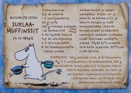 Muumipeikon suklaamuffinsit | Perromania - pieni postikorttikauppa 0,90€ Näitä nimenomaisia muumiaiheisia reseptipostikortteja toivon. Haluaisin kerätä kaikki erilaiset