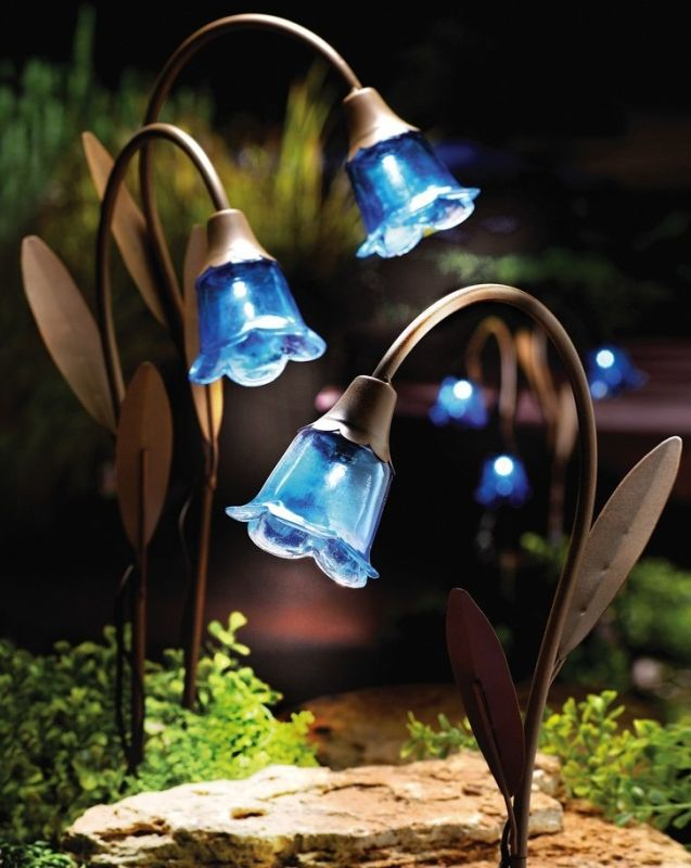 light up your landscape yard with blue bell stake solar lawn lights a trio of inspired by blooming bluebells