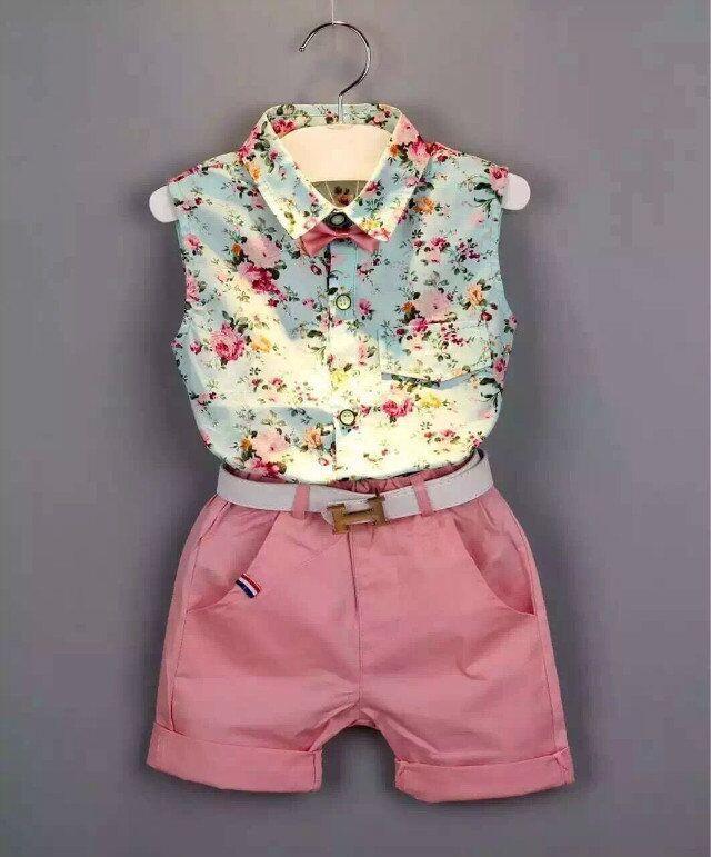 Crianças roupas de verão 2015 novo roupas infantis menina de bebê menina conjuntos de roupas de moda crianças sem mangas floral + shorts em Conjuntos de roupas de Mãe & Kids no AliExpress.com | Alibaba Group