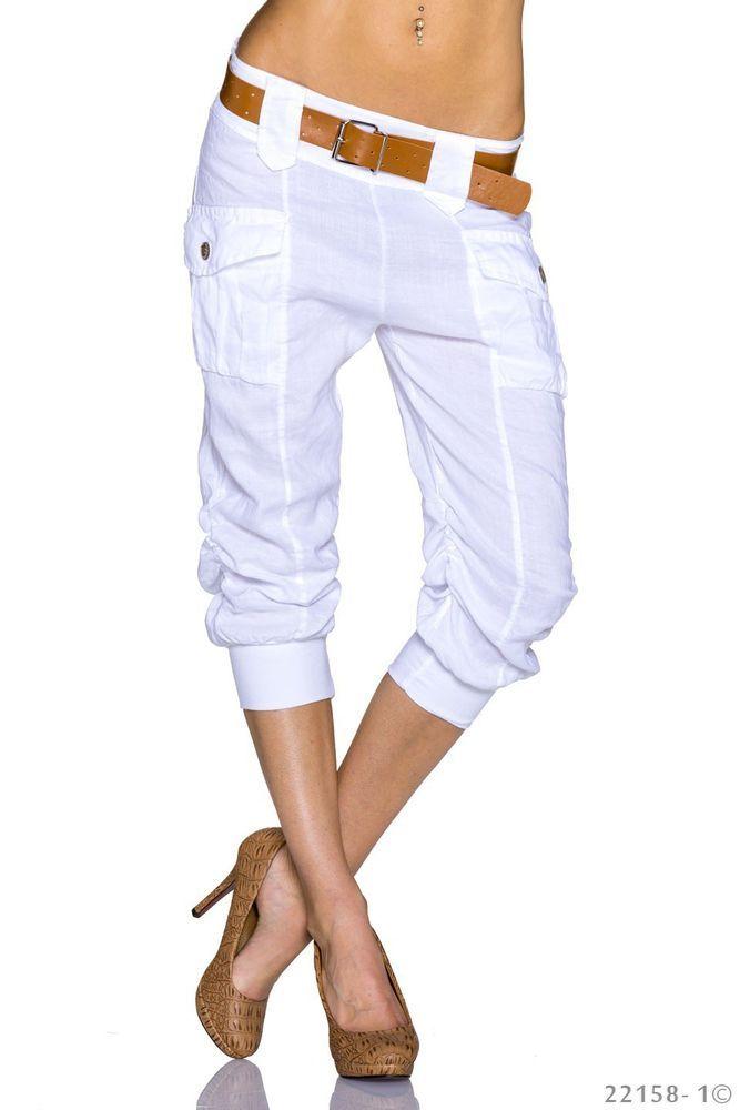 Pantacourt blanc lin femme cargo bermuda Mode taille 36 / 38