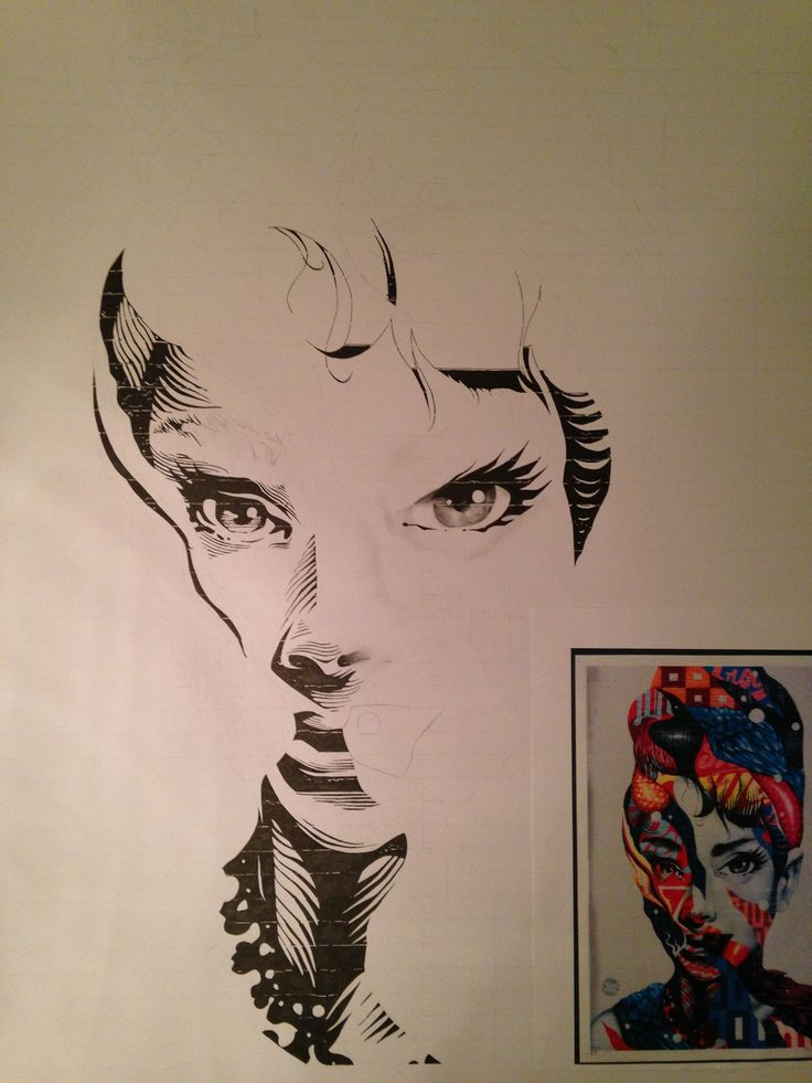 IN THE PROCESS: copy of Tristan Eaton's 'audrey of mulberry' mural. using mixed media: acrylic paints, watercolours, fine liners, pencils