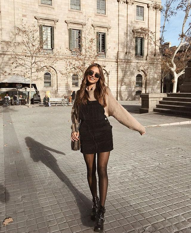 black jumper with tights – casual fall outfit, winter outfit, style, outfit inspiration, millennial fashion, street style, boho, vintage, grunge, casu…