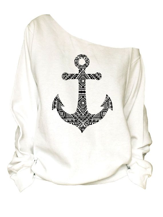 Anchor  Print oversized off shoulder raw edge  by printopia1225