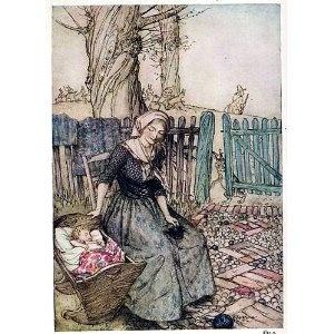 "6"" x 4"" Greetings Card Arthur Rackham Mother Goose Bye Baby Bunting"