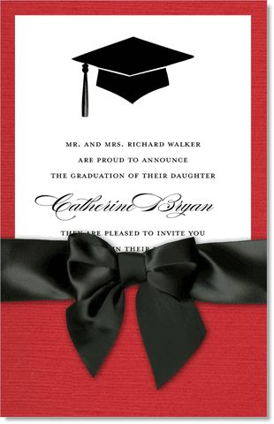 Tip of the Hat Red & Black Pocket Graduation Invitations