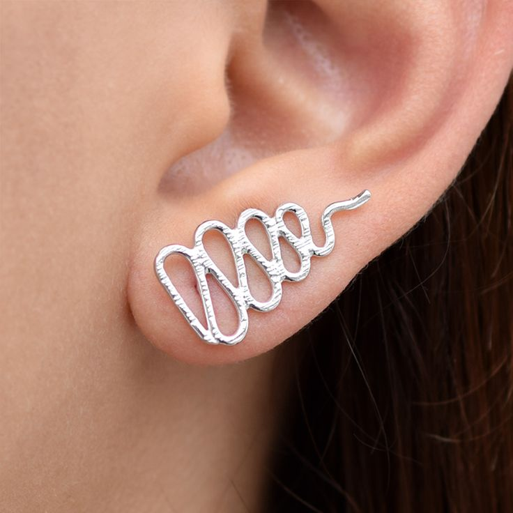 Silver Snake Ear Climbers.