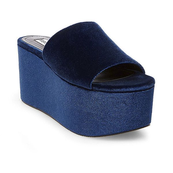 Steve Madden Harlow Sandals ($30) ❤ liked on Polyvore featuring shoes, sandals, blue velvet, blue high heel sandals, high heel platform shoes, high heel platform sandals, blue shoes and velvet sandals