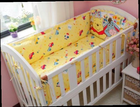 42.80$  Watch here - http://alinq9.worldwells.pw/go.php?t=32519241824 - Discount! 6pcs Winnie baby cot bedding set cotton material jogo de cama crib bumper  ,include(bumper+sheet+pillowcase)