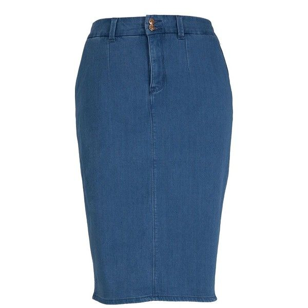 Melissa Mccarthy Seven7 Plus Button-Front Denim Skirt ($84) ❤ liked on Polyvore featuring plus size women's fashion, plus size clothing, plus size skirts, skirts, blue, plus size, blue denim skirt, zipper skirt, long skirts and denim skirt