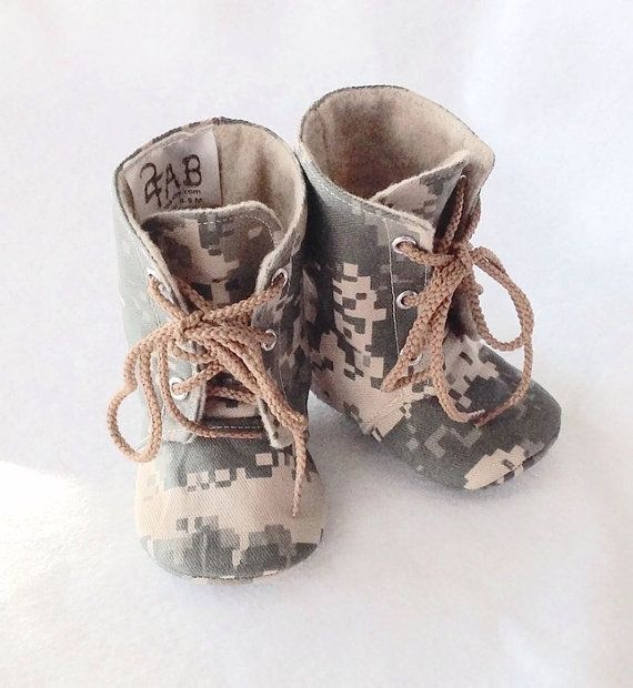 Handmade Baby Combat Boots, work boots, Military boots, Digital camo baby boots, Camo baby boots, ACU, Army Baby boots
