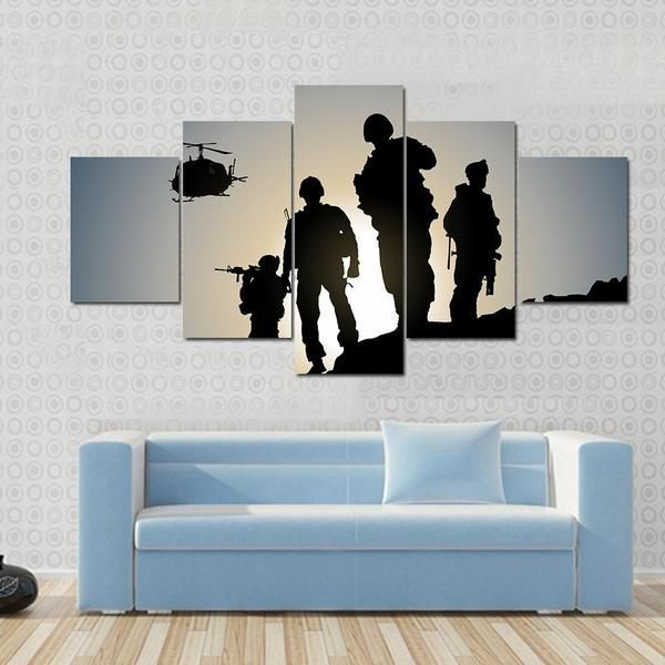 Military Soldiers Silhouettes With Helicopter Multi Panel Canvas Wall Art Customized Canvas Art Canvas Wall Art Diy Canvas Art