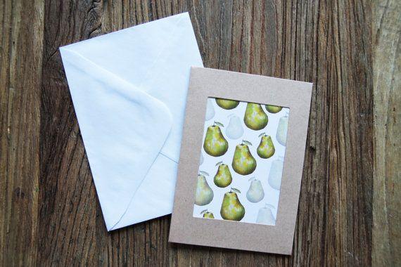 Pear greeting card, birthday card, illustration print, lemon, lemon print, kitchen print, kitchen wall art, wall decor, gift idea, pearfect