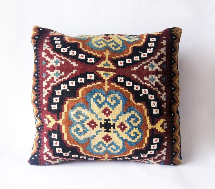 Folklore Love - Turkish Hand Woven Kilim Pillow Case  20 x 20.  via Etsy.