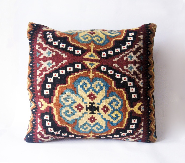 Folklore Love - Turkish Hand Woven Kilim Pillow Case  20 x 20.  via Etsy.