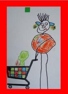 Thema winkel: tekenopdrachten --> lopen met het winkelwagentje