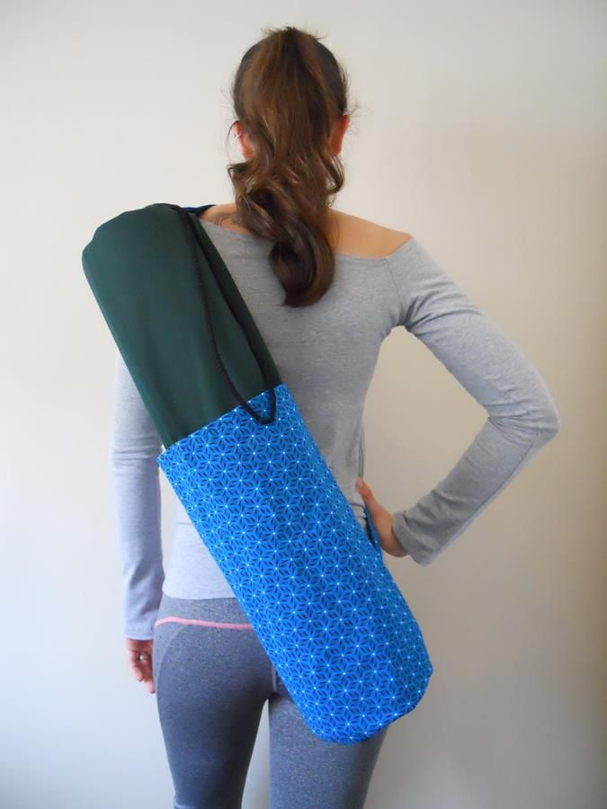 Shweshwe green and blue yoga bag