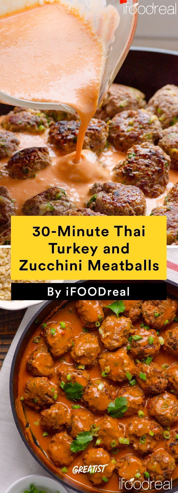 5. 30-Minute Thai Turkey and Zucchini Meatballs #healthy #dinner #recipes http://greatist.com/eat/clean-eating-ground-turkey-recipes