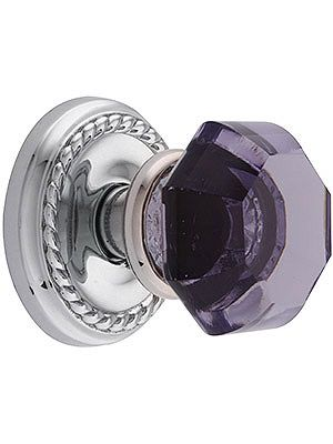 Antique Door Knobs: Classic Rope Rosette Set With Amethyst Crystal Glass Door Knob