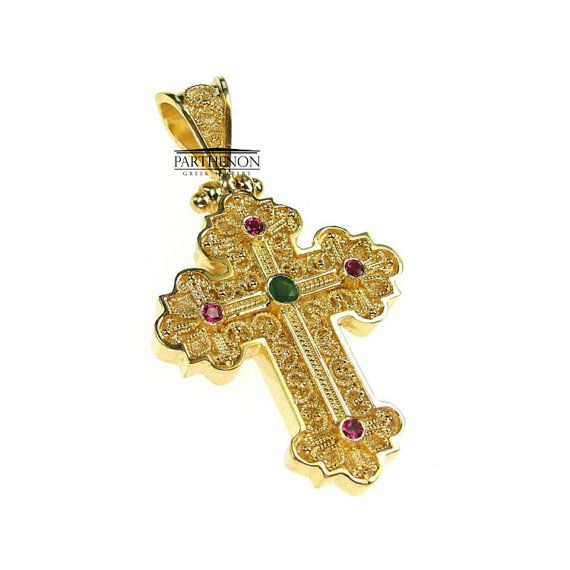 Handmade Byzantine Cross 18k Solid Gold by ParthenonGreekJewels