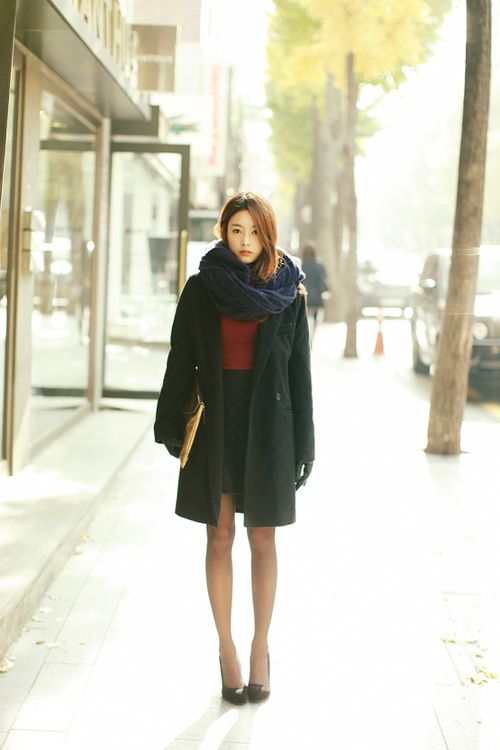 Black Peacoat X Navy Blue Chunky Infinity Scarf My Dream