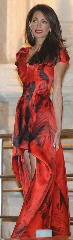 Amal Alamuddin's red gown by Alexander Mcqueen that she wore in Venice jaglady