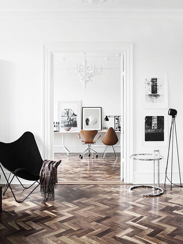 chevron wood floors, mid-century decor, clean white walls