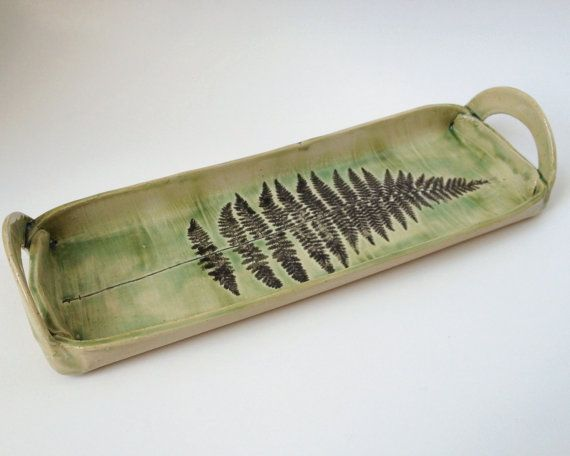 Fern Frond Pottery Serving Dish, Hand Built, Hand Painted Ceramic Tray on Etsy, $45.95