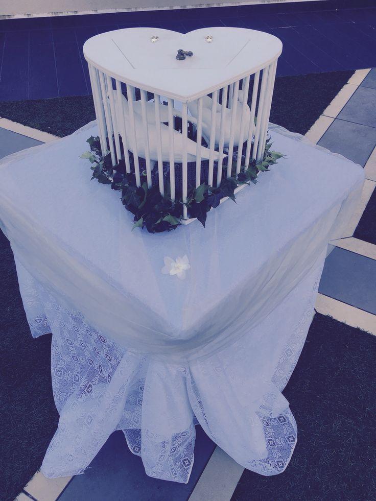 Table dressing of white velvet, cream lace and cream tulle