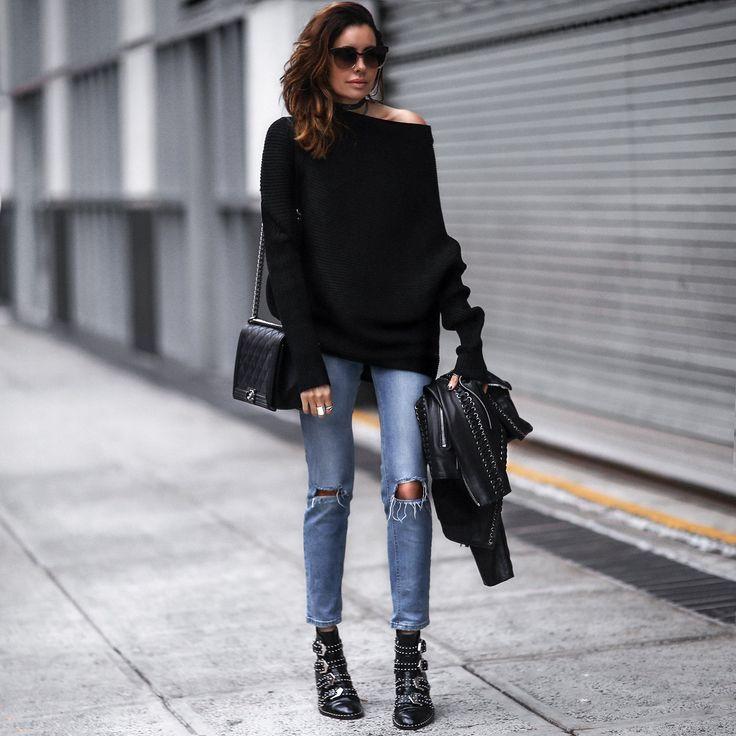 black off the shoulder sweater, ripped skinny jeans, black studded boots, black leather jacket, chanel bag