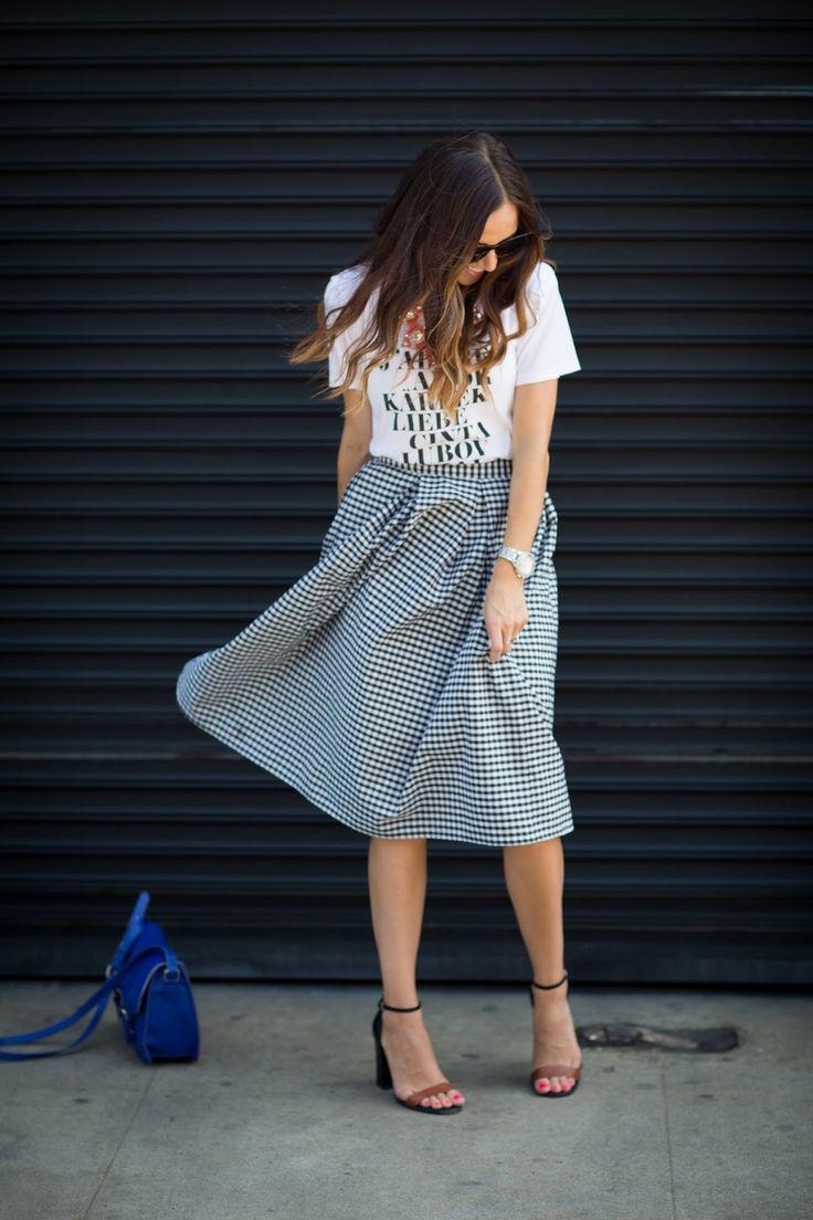 Midi skirt, graphic tee, bright bag