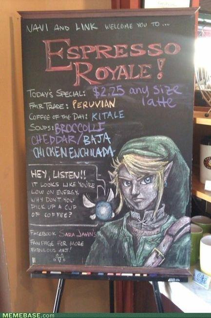 Link-Legend of Zelda. Holy amazing art work Batman!Coffee Shops, Coffe Signs, Legends Of Zelda, Drinks Coffee, Coffe Art, Chalkboards Art, Chalkboards Signs, Coffe Shops, Chalk Art