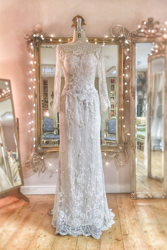 Image of SAMPLE SALE:beaded pale ivory and silver corded lace and 100%silk wedding dress, UK size 8/10