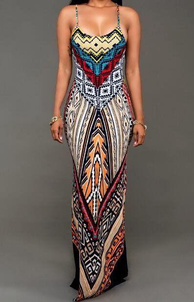 Best For you Tribal Print Slit Long Dress
