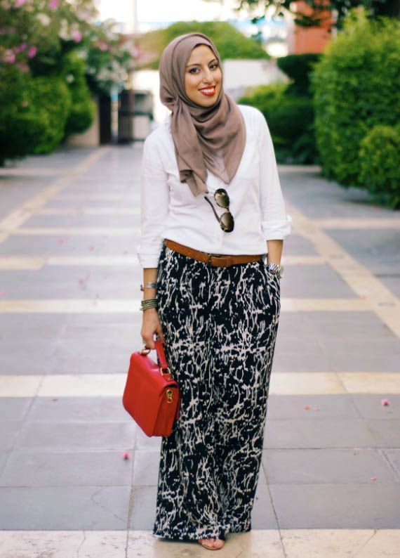 white shirt with maxi skirt
